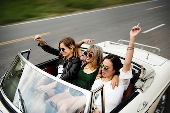 Diverse group of people enjoying a road trip and festival