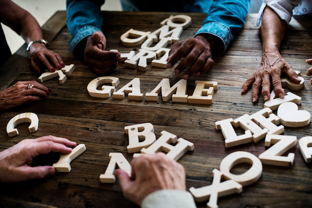 Diverse group spell out game