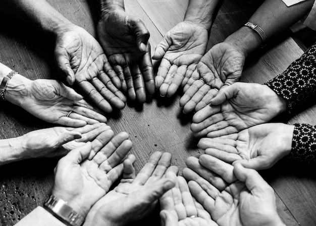 Diverse hands in a circle