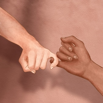 Diverse hands pinky promise aesthetic illustration social media post