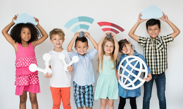 Diverse kids with internet icons