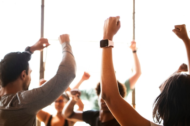 Diverse people in an active dance class