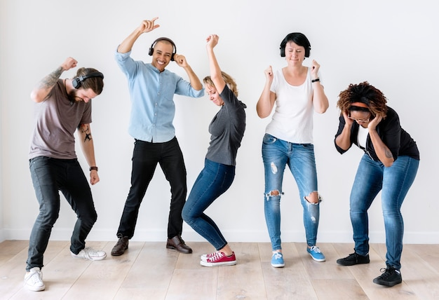 Diverse people  dancing isolated
