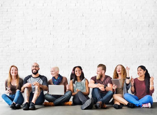 Diverse people friendship digital device connection concept