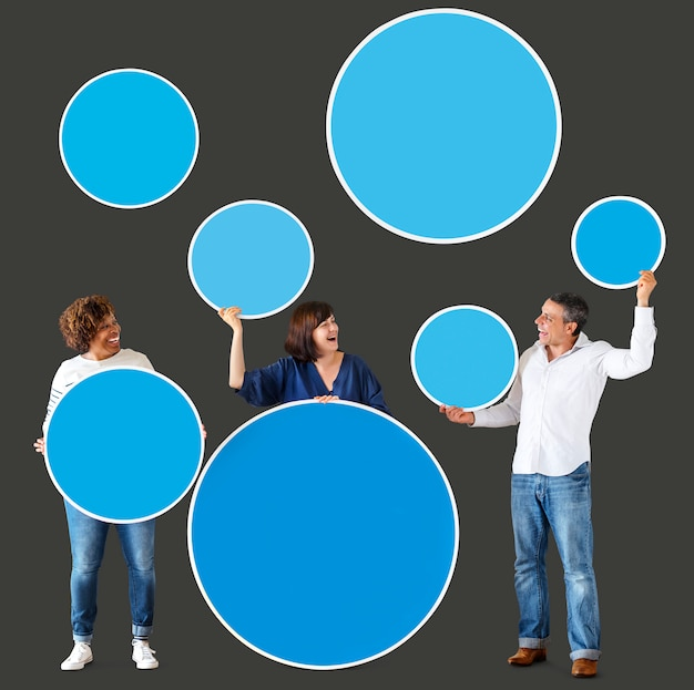 Diverse people holding colorful blank circles