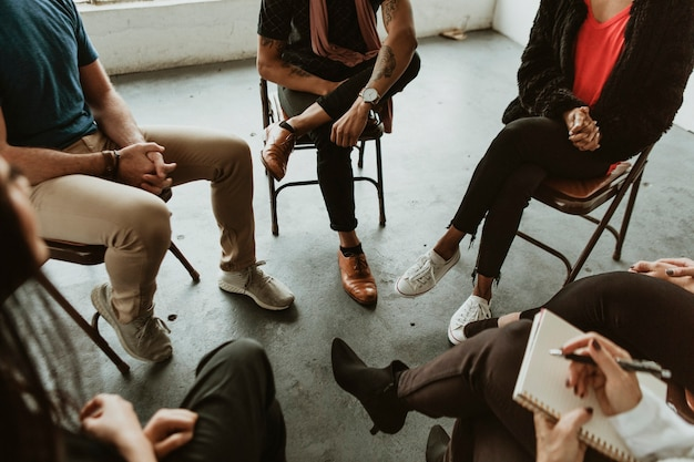 Diverse people in a rehab session