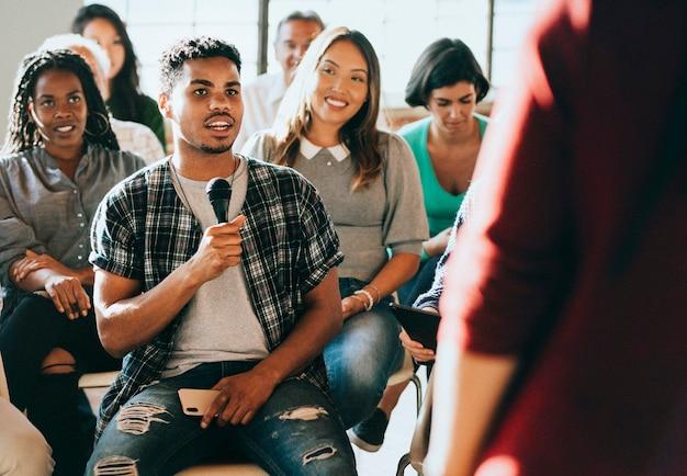 Diverse people in a seminar