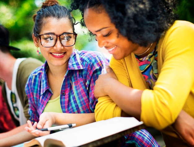 Diverse people studying students campus concept