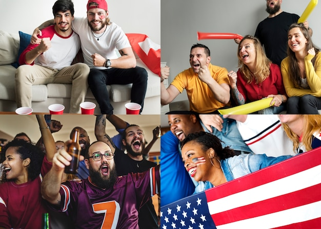 Diverse people watching football world cup images
