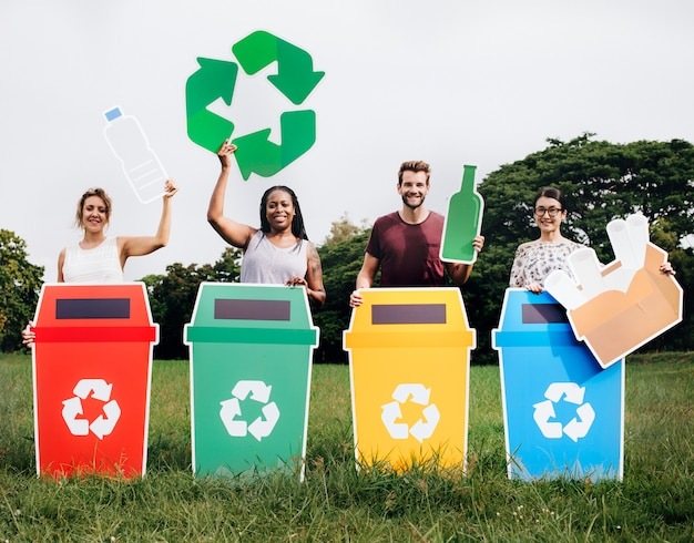Diverse people with colorful recycle bins