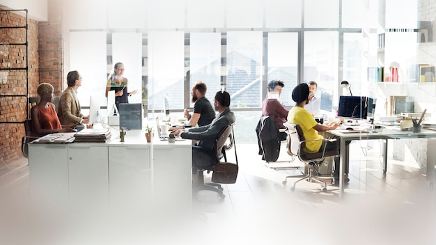 Diverse people working in the office