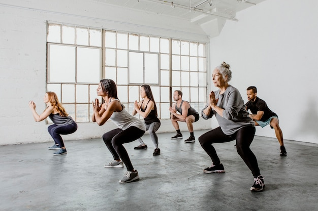 Diverse people in a yoga class