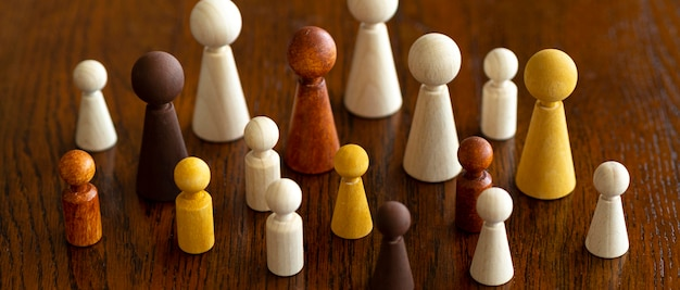 Diversity of chess pieces on desk