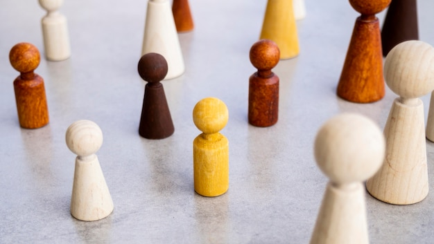 Diversity of chess pieces on table