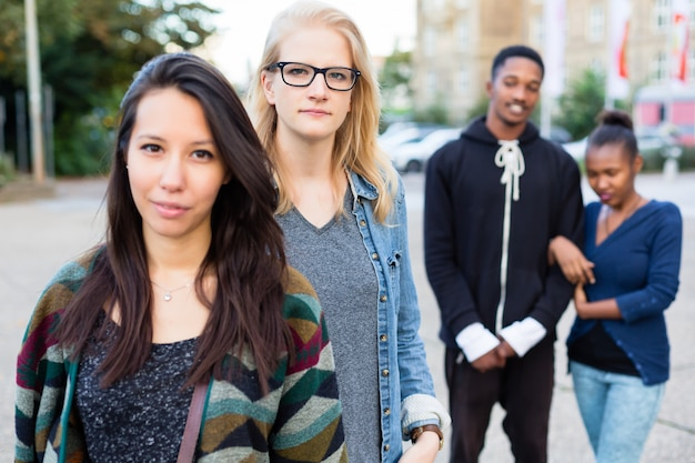 Diversity friends in city