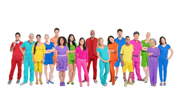 Diversity of life: large group of diverse multi-ethnic people.