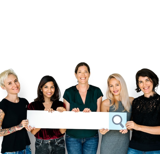Diversity women hands hold search box magnifying glass