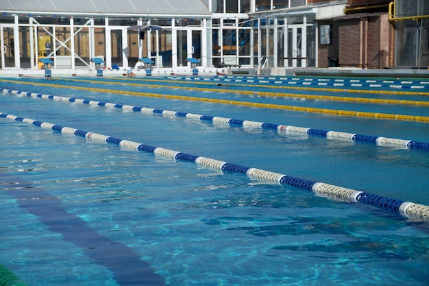 Dividers of paths in the big outdoor swimming pool