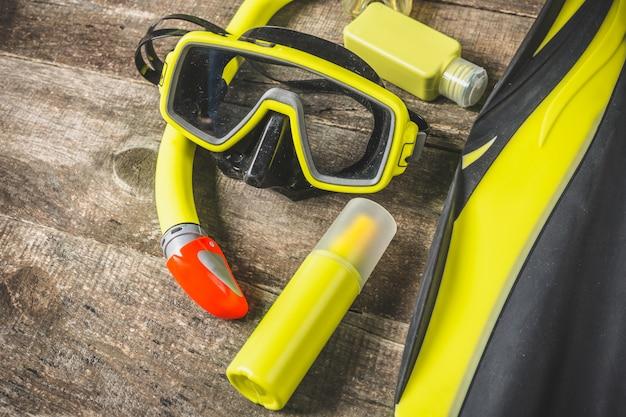 Diving snorkeling equipment , top view