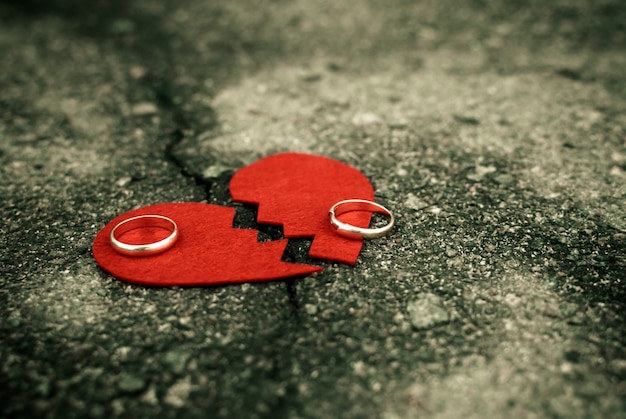 Divorce concept - broken heart with wedding rings on cracked asphalt