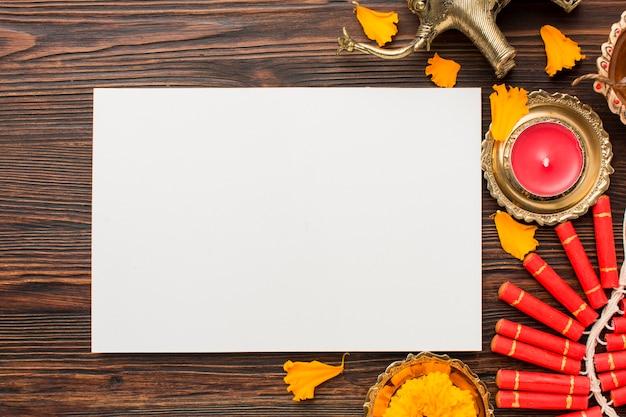 Concetto di diwali con copia spazio sul tavolo