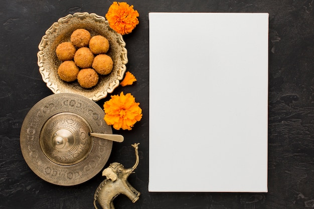 Diwali concept with copy space on table
