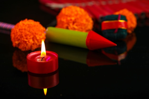 Diwali diya with fire crackers
