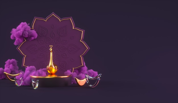 Diwali, festival of lights podium scene with 3d indian rangoli, glossy and golden decorative diya oil lamp, purple clouds. 3d rendering illustration.