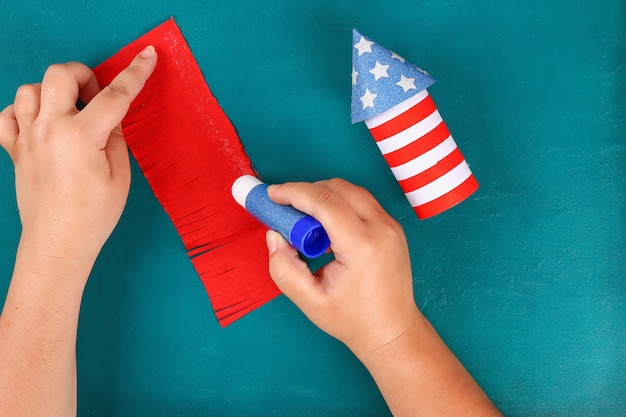 Diy 4th july petard toilet sleeve, paper, cardboard color american flag red blue white