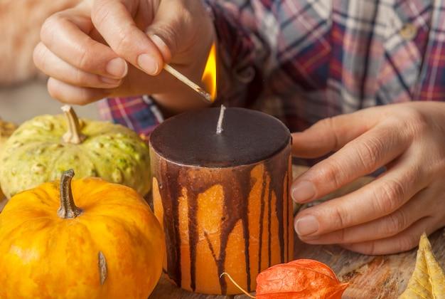 Diy composition with pumpkins
