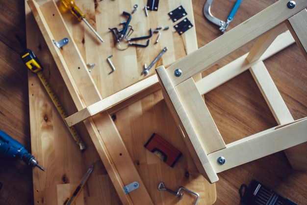 Diy concepts with wood furniture and tool and another equipment