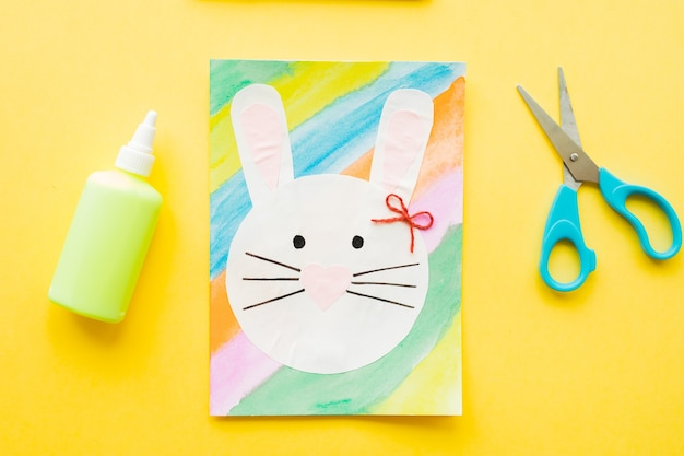 Diy easter card. how to make paper bunny for easter greetings.