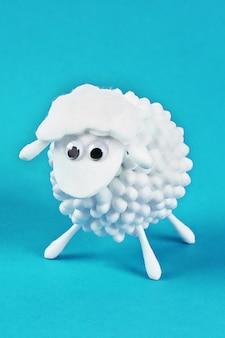 Diy eid al adha lamb sheep of cotton pads, cotton buds, swabs