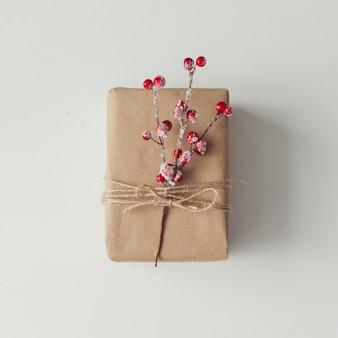 Diy 선물 포장 아이디어. 평평하다. 크리스마스 컨셉입니다.