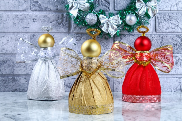 Diy. guide on the photo how to make decorative angel from a bottle. handmade. top view. st