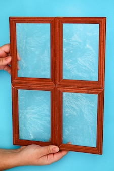 Diy. how to make a winter window with frosty patterns from photo frames and magnesium sulfate powder