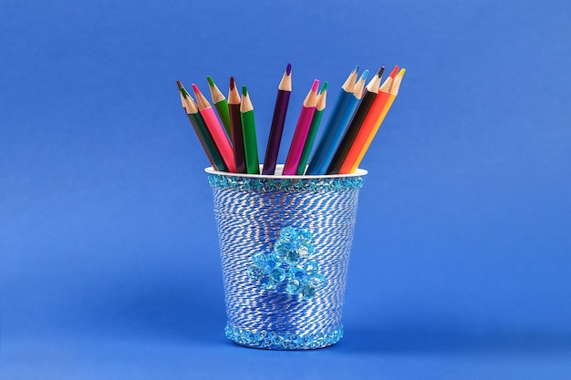 Diy pencil holder plastic glass