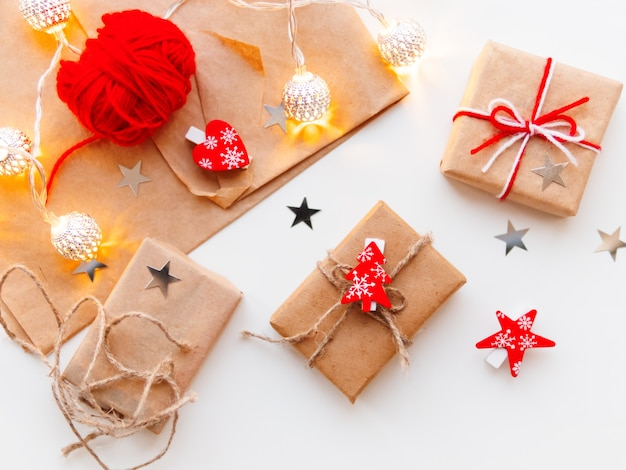Diy presents wrapped in craft paper