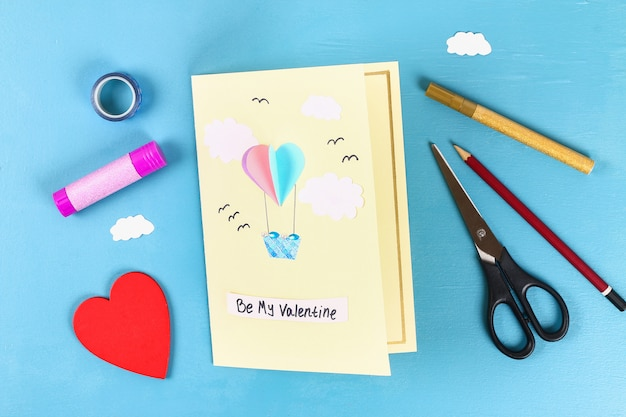 Diy valentines day greeting card on 14 february