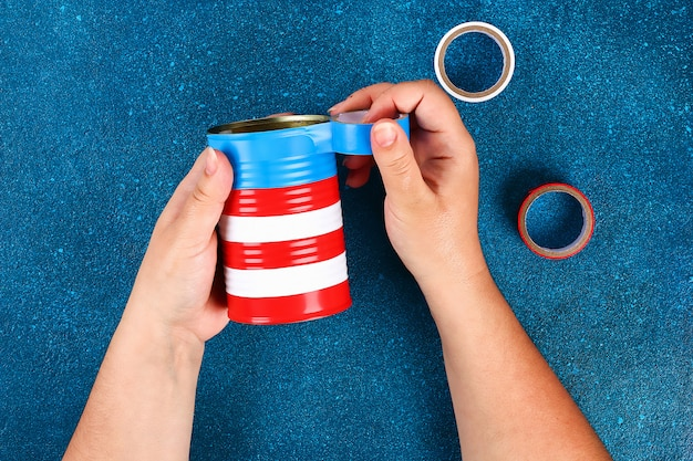 Diy vase 4th of july from tin can