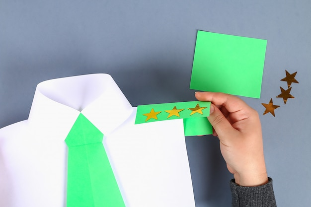 Diy white shirt paper with green tie