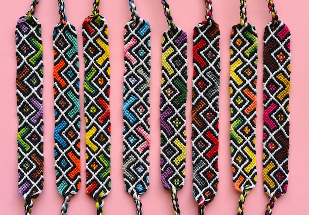 Diy woven friendship bracelets with abstract geometric pattern