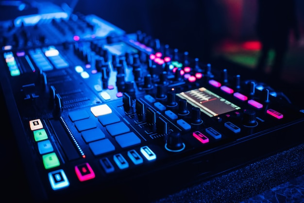 Dj mixer controller panel for playing music and partying