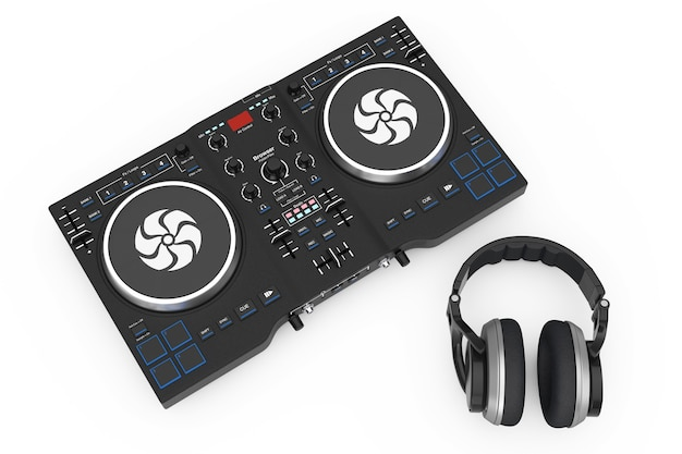 Dj mixing turntable with headphones on a white background. 3d rendering