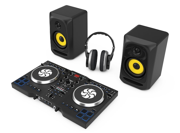 Dj mixing turntable with speakers and headphone on a white background. 3d rendering