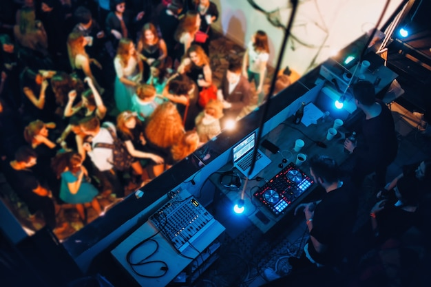 Dj set and party lights