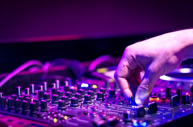 Dj sound equipment at nightclubs and music festivals