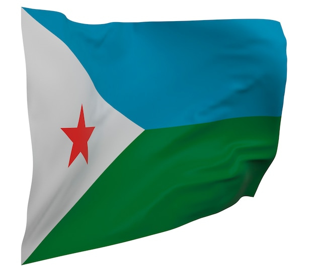 Djibouti flag isolated. waving banner. national flag of djibouti