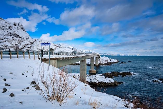 Djupfjord bridge djupfjordbrua in winter. lofoten islands, norway