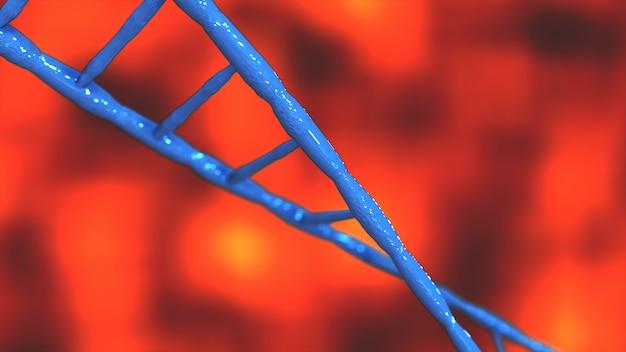 青いdna分子生化学アニメーション3 dレンダリングの抽象的な技術科学概念